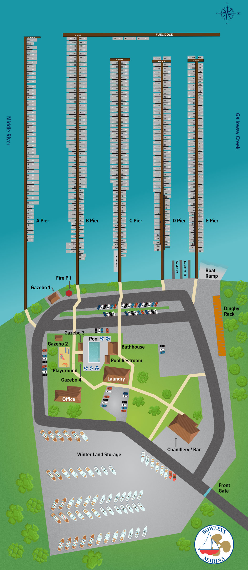 bowleys marina and facility map
